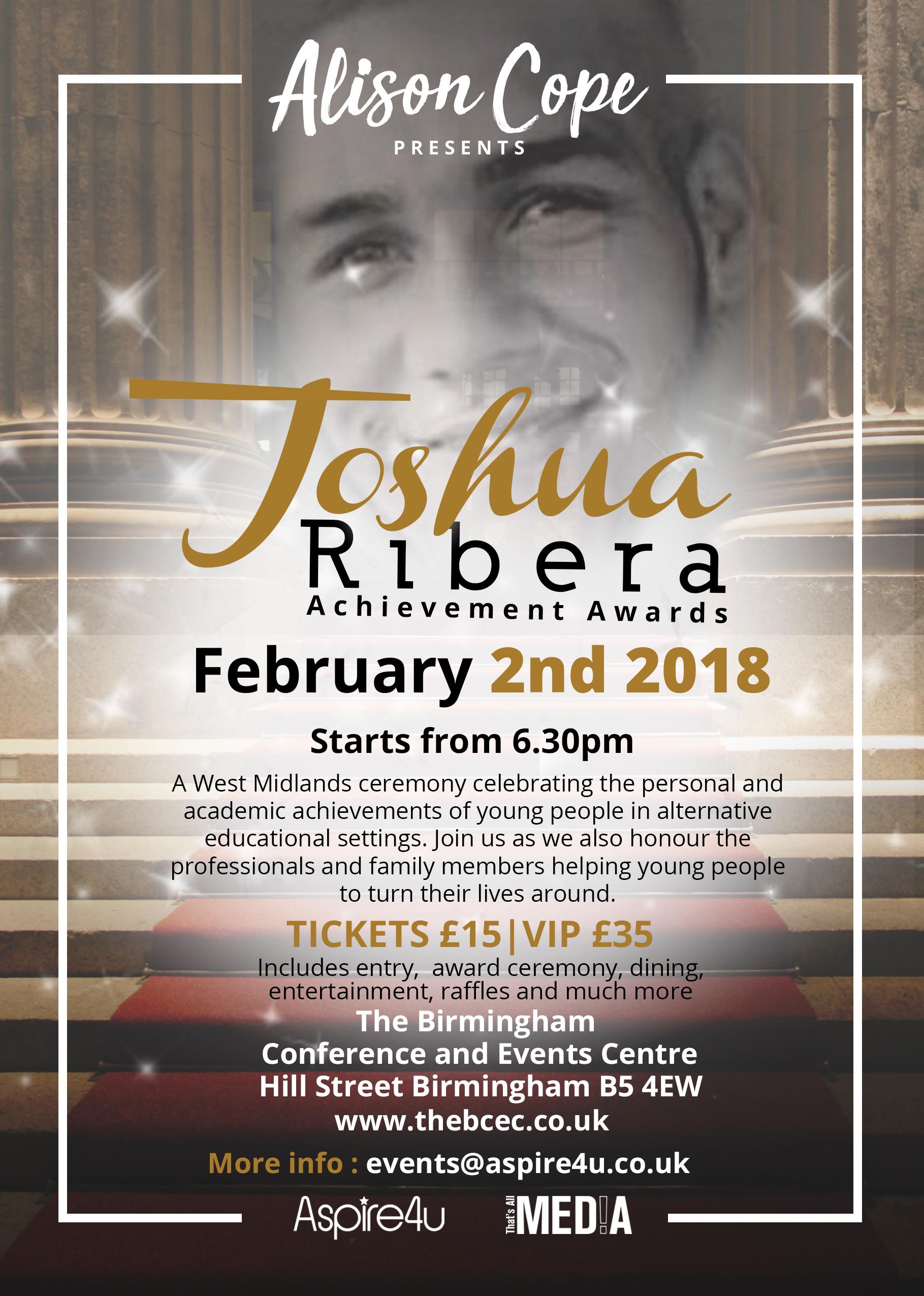 Joshua Ribera - Achievement Awards Flyer; Alison Cope; Aspire4u